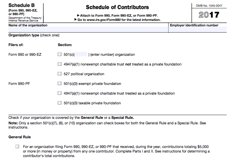 IRS Dumps Schedule B For Associations, Others NPOs - The